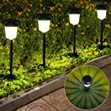 InnoGear Upgraded Solar Pathway Garden Lights Switchable White and Colorful Light Waterproof Outdoor LED Landscape Lighting A