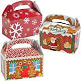 Christmas Cookie Treat Boxes (36 Pack) Bulk 3D Xmas Cardboard Gable Gift Boxes - 12 of Each Design