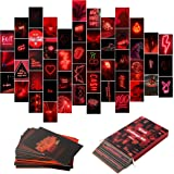 YINGENIVA 50PCS Red Neon Aesthetic Pictures Wall Collage Kit, Neon Red Photos Collections Collage Dorm Decors for Girl Teens