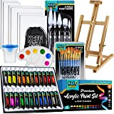 KEFF Creations Acrylic Paint Set - 54 Piece Professional Artist Painting Supplies Kit, Art Painting, 24 Acrylic Paint Tubes,