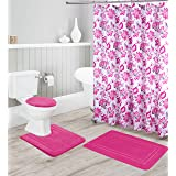 Better Home Style 16 Piece Solid Color Modern Design Embossed Memory Foam None-Slip Bathroom Rug Set Includes Bath Rug, Conto