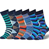 Easton Marlowe Mens Dress Socks - Fun Colorful Socks for Men - Cotton Patterned Fashion Mens Socks 6 Pack