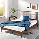 Zinus Double Bed Frame Linda Vertical Wooden Headboard | Nordic Platform Solid Wood Bed