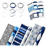 Hallmark Reversible Holiday Wrapping Paper Set (3 Rolls of Wrapping Paper with Ribbon and Gift Tag Stickers) Blue and Silver