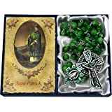 CB Catholic St Patrick Marble Rosary Gift Set. Includes Green Marble Bead Rosary with Celtic Cross Silver Metal Crucifix and