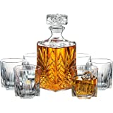 Paksh Novelty 7-Piece Italian Crafted Glass Decanter & Whisky Glasses Set, Elegant Whiskey Decanter with Ornate Stopper and 6