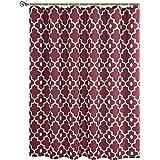 "Biscaynebay Printed Fabric Shower Curtain, Morocco Pearl Bathroom Curtain (72""X72"", Morocco Red Burgundy)"