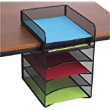 Safco Products Onyx Mesh 5-Tray Underdesk Hanging Organizer 3240BL, Black Powder Coat Finish, Durable Steel Mesh Construction