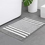 Bsicpro Chenille Bath Rug for Bathroom Shaggy Mat Shower Mats Super Non Slip Water Absorbent Carpet Stripe Pattern Plush Rugs