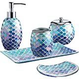 Whole Housewares 5-Pieces Bathroom Accessory Set Bright-Colored Mosaic Glass Bath Ensemble-Lotion Dispenser/Toothbrush Holder