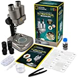 National Geographic Dual LED Student Microscope - 50+ pc Science Kit Includes Set of 10 Prepared Biological & 10 Blank Slides