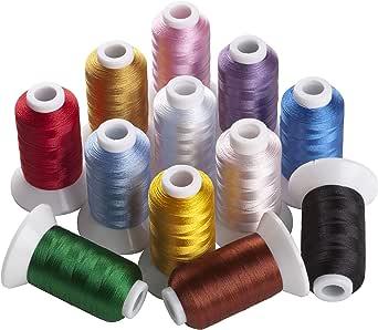 12色セット/各500m ミシン用糸 刺しゅう糸 家庭用ミシン糸 カラー糸