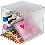 "Deflecto Stackable Cube Organizer Cross Dividers, Desk and Craft Organizer, Clear, Removable Dividers, 6"" W x 6"" H x 6"" D (35"