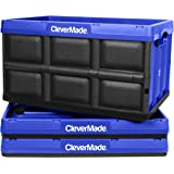 CleverMade 46L Collapsible Storage Bins - Durable Folding Plastic Stackable Utility Crates, Solid Wall CleverCrates, 3 Pack,