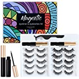 Happy Heartbeat Magnetic Fake Eyelashes Kit, 2020 New upgrade 10 pairs No Glue Needed,3D Faux Mink Lashes Cross Fluffy Soft N
