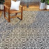 """Home Dynamix Nicole Miller Patio Country Danica Indoor/Outdoor Area Rug 5'2""""x7'2"""", Black/Gray"""