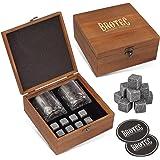 Whiskey Stones Gift Set - 8 Granite Chilling Whisky Rocks - 2 Large Crystal Whiskey Drinking Glasses - 2 Coasters in Handmade