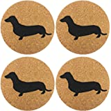 Dachshund Weiner Dog Gift Cork 4 Pack Drink Coasters Set - Basic Design Wiener Dog Decor - Perfect Decoration for Doxie Lover