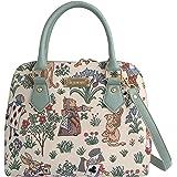 Signare Tapestry Mint Green Top Handle Handbag with Detachable Strap to Convert to Shoulder Bag in Alice in Wonderland Design