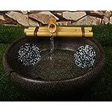Bamboo Water Fountain Medium 12 Inch Three Arm Style with Pump, Indoor or Outdoor Zen Garden Decor Fountain, Natural, Split R