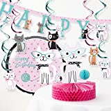 Creative Converting Purr-FECT Cat Birthday Party Decorations Kit