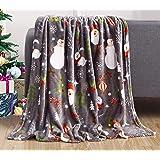 Elegant Comfort Velvet Touch Ultra Plush Christmas Holiday Printed Fleece Throw/Blanket-50 x 60inch), 50 x 60 inch, Santa