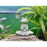 Elly Décor 8.5 Inch Tall Meditating Yoga Peace Todd Sculpture Figurine, Lawn Garden Statue Décor Made of Ceramic Zen Frog, Gr