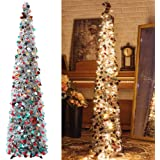 Pop-Up Artificial Christmas Tree with 100LED Lights ,Collapsible Pencil Christmas Trees for Holiday Carnival Party Christmas