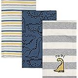 Gerber Baby Boys' 3 Pack Knit Burp Cloth, Dinosaur Blue, One size