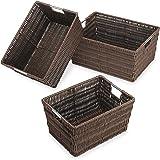 Whitmor Rattique Storage Baskets Set of 3, Java