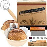 Shori Bake Banneton Bread Proofing Basket Set of 2 Round 9 Inch + Sourdough Bread Making Tools Kit, Baking Gifts for Bakers,