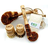Eco-Aware Natural Bamboo Dish Scrub 4 Piece Brush Set Crafted from Coconut Fibers with Bamboo Handles and 100% Loofah Biodegr
