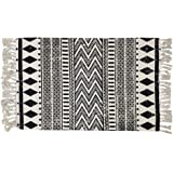 USTIDE Cotton Braided Black&White Bohemian Rag Rug Washable Decorative Doormat Hand Woven Tassel Rug, 2'×3'