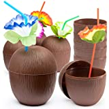 Prextex 12 Pack Coconut Cups for Hawaiian Luau Kids Party with Hibiscus Flower Straws - Tiki and Beach Theme Party Fun Drink