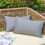 NEERYO Pack of 2 Outdoor Waterproof Throw Pillow Covers Decorative Solid Linen Farmhouse Couch Sofa Lumbar Pillowcases for Ga