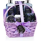 Home Spa Gift Basket, 9 Piece Bath & Body Set for Women and Men, Lavender & Jasmine Scent - Contains Shower Gel, Bubble Bath,