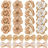 24PCS Handmade Natural Burlap Flowers, Include Burlap Rose Flowers, Burlap Lace Flowers with Pearls, Burlap Hibiscus Flowers,