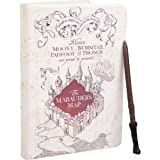 "HARRY POTTER Marauder's Map Journal with Harry Wand Pen - 192 Blank Pages with Bookmark - 8.5"" x 6"""