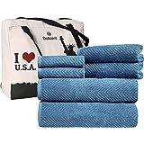 DOLLCENT- JACQUARD CHEVRON PREMIUM QUALITY 600 GSM- 100% Cotton Towel Set Of 6 - 2 Bath Towels- 2 Hand Towels- 2 Washcloths-