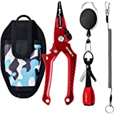 SAMSFX Locking Aluminum Fishing Pliers Saltwater Braid Line Cutting Split Ring Pliers with Coiled Lanyard, Sheath, Quick Knot