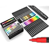 Paint Pens Acrylic Markers 30 Set 0.7mm Extra Fine Tip for Rock Painting, Vibrant, Waterproof, For Canvas, Mugs, Metal, Fabri