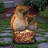 Exhart Night Owlets Garden Statue - Hand-Painted Pair of Owls Statue (Owlets) w/Solar Decor Lights Provide Solar Outdoor Glow
