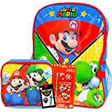 """Super Mario Backpack and Lunch Box Set for Boys Girls Kids ~ Deluxe 16"""" Mario Backpack with Detachable Insulated Lunch Bag, S"""