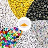 MyRalice 300 Pieces Acrylic Smiley Face Beads, 6x10mm Colorful Happy Face Loose Spacer Beads Mixed Resin Charms Beads for DIY