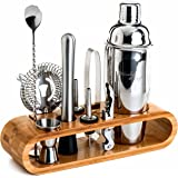 (1.Silver - Bamboo) - Mixology Bartender Kit: 10-Piece Bar Tool Set with Stylish Bamboo Stand - Perfect Home Bartending Kit a