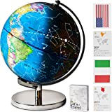 "9"" Children Illuminated Spinning World Globe with Stand Plus Flags STEM Card Game. 3 in 1 Interactive Educational Desktop Ear"