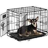 Dog Crate | Midwest iCrate XXS Double Door Folding Metal Dog Crate w/ Divider Panel, Floor Protecting Feet & Leak-Proof Dog T