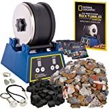 NATIONAL GEOGRAPHIC Rock Tumbler Kit-3LB Extra Large Capacity, 3LB Rough Gemstones, 4 Polishing Grits, Jewelry Fastenings, ST