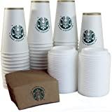 Starbucks White Disposable Hot Paper Cup, 16 Ounce, Sleeves and Lids (Pack of 50 each)