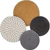 Potholders Set Trivets Set 4pcs 2 sizes 7 Inches & 9 Inches Diameter 100% Eco Pure Cotton Thread Weave Trivets for Hot Pots a